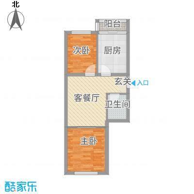 金洲家园57.67㎡户型2室1厅1卫1厨