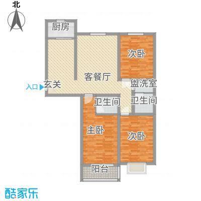 恒顺世纪中心138.00㎡3#楼E户型3室2厅2卫