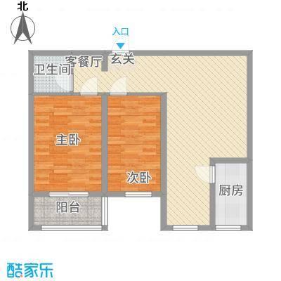 恒顺世纪中心4.20㎡3#楼F户型2室2厅1卫