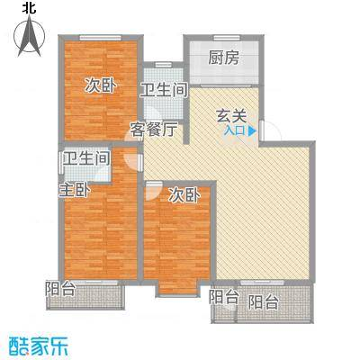 紫光华庭・新世纪13.60㎡F户型3室2厅2卫1厨