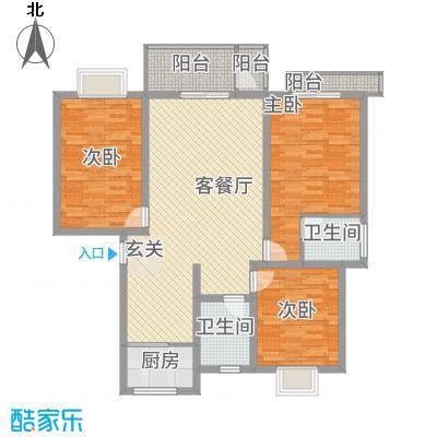 紫光华庭・新世纪12.80㎡E户型3室2厅2卫1厨