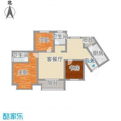 青龙紫薇花园118.83㎡B户型3室2厅2卫1厨