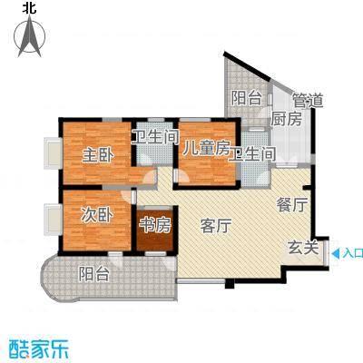 龙汇花园162.40㎡10栋E型户型4室2厅2卫1厨