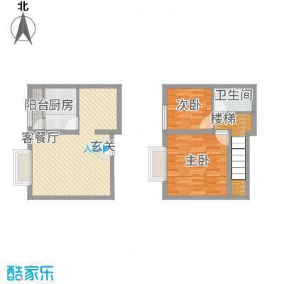 阳光曼哈顿82.00㎡C跃层户型2室2厅2卫1厨