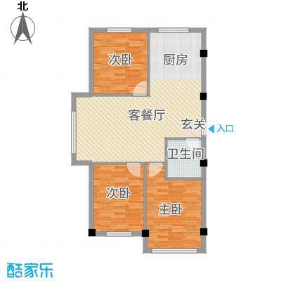 秦唐12栋户型3室2厅1卫1厨