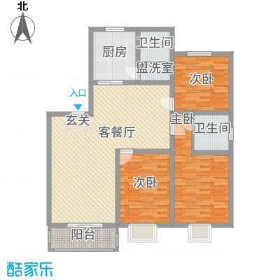 嘉恒新苑132.80㎡一期2幢标准层D户型3室2厅1卫1厨
