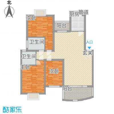 林之苑131.25㎡8栋03户型3室2厅2卫1厨