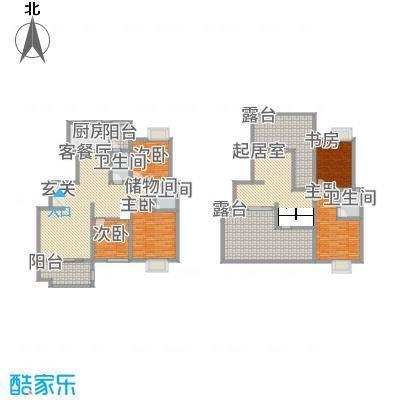 九洲家园27.15㎡D跃层户型5室3厅3卫1厨
