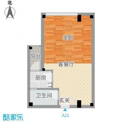 凯都国际53.87㎡15层、16层03户型1室1厅1卫1厨