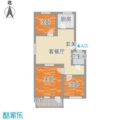 丰禾新家园87.28㎡L户型3室1厅1卫1厨