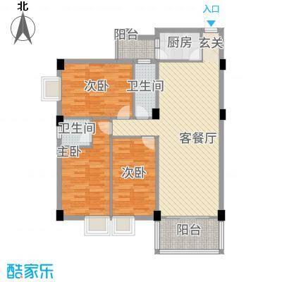 喜联大厦114.60㎡B座14单位户型3室2厅2卫1厨