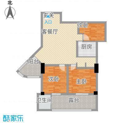 金碧广场124.40㎡B2户型3室2厅1卫1厨