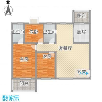 帝上龙园122.54㎡B-3号楼A1户型3室2厅1卫1厨
