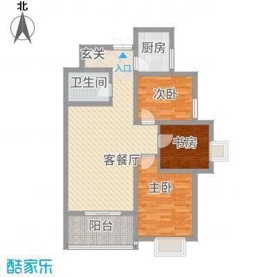帝上龙园1.35㎡B-3号楼A2户型3室2厅1卫1厨