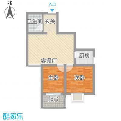 帝上龙园6.82㎡B-1号楼D户型2室2厅1卫1厨