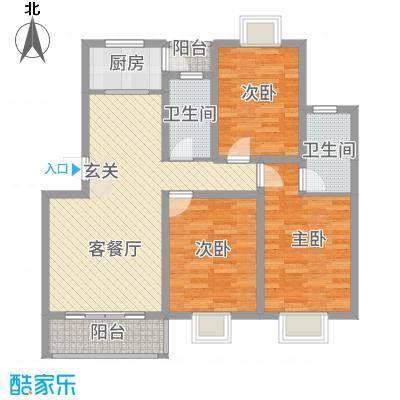 朱雀城市广场117.00㎡户型3室2厅2卫1厨