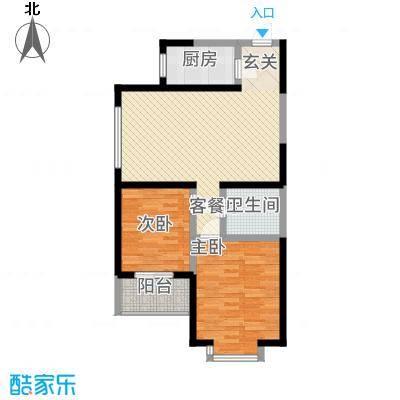 香诗美林户型2室1厅