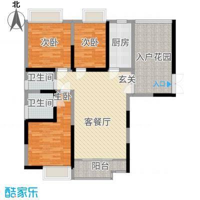 朱雀城市广场121.00㎡A户型3室2厅2卫2厨