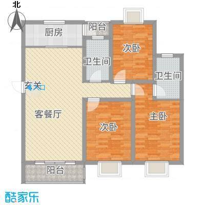 朱雀城市广场124.66㎡户型3室2厅2卫1厨