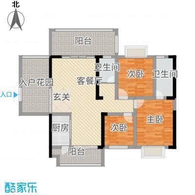 万和乐华花园12.00㎡2栋05-06-户型3室2厅2卫1厨