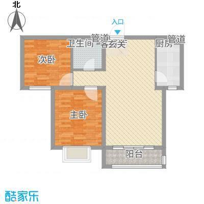世贸广场86.00㎡3#A户型2室2厅1卫1厨