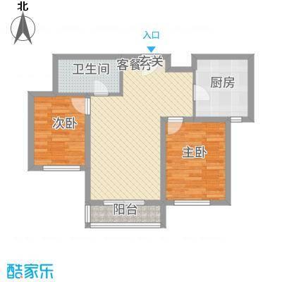首创・象墅75.00㎡B户型2室2厅1卫1厨