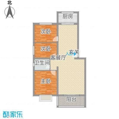 龙腾花园121.65㎡2户型3室2厅1卫1厨