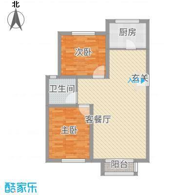 首创・象墅A2户型2室2厅1卫1厨