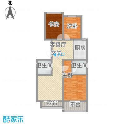 千禧・御东画卷125.00㎡E2户型3室2厅2卫1厨