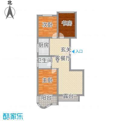 千禧・御东画卷11.81㎡E1户型3室2厅1卫1厨
