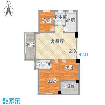 宝诚・悦府121.00㎡M户型3室2厅2卫1厨