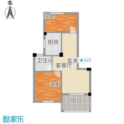 宝诚・悦府86.00㎡H1户型2室2厅1卫1厨