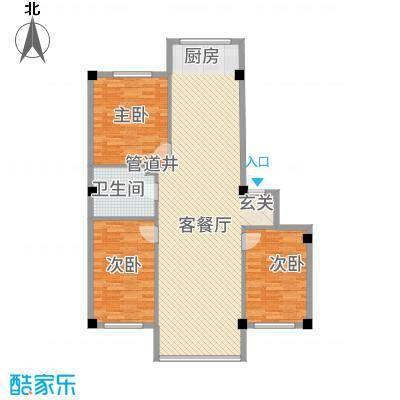 福景园12.00㎡户型3室2厅1卫
