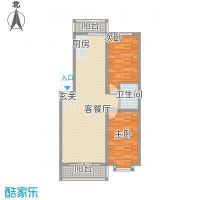 都市花园C户型2室2厅1卫1厨