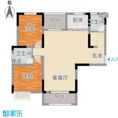 景徽国际128.81㎡B1'户型2室2厅2卫1厨