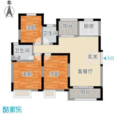 景徽国际123.60㎡B-3户型3室2厅2卫1厨
