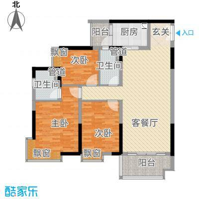 御品蓝湾11.00㎡D栋02、E栋12、13、F栋02、03户型3室2厅2卫1厨
