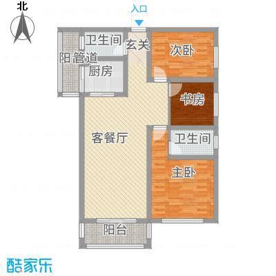 圣苑・林居118.80㎡D1户型3室2厅2卫