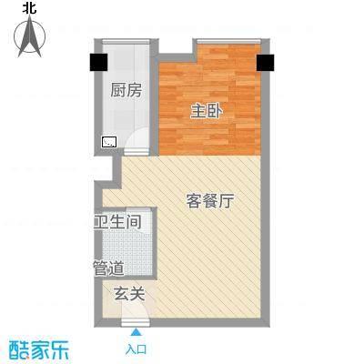 洪城时代广场58.00㎡户型1室