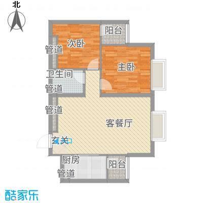 太原奥林匹克花园16#楼一户型2室2厅1卫1厨