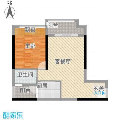 港城星座62.38㎡二号楼标准层09户型1室2厅1卫1厨