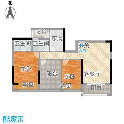 港城星座8.61㎡二号楼标准层04户型2室2厅2卫1厨