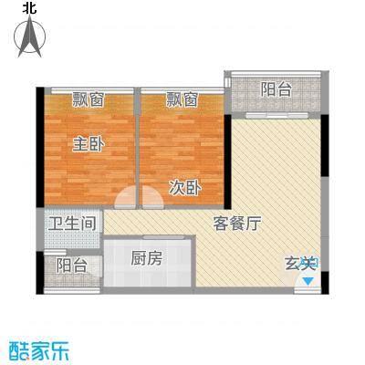 港城星座83.63㎡二号楼标准层05户型2室2厅1卫1厨