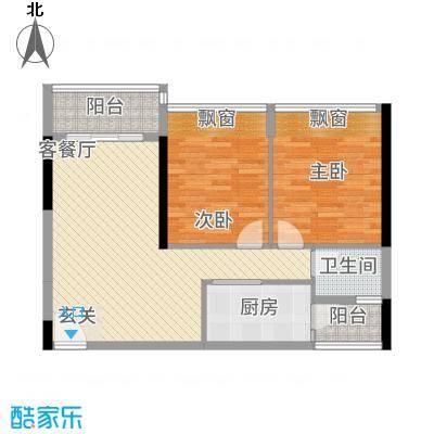 港城星座83.63㎡二号楼标准层06户型2室2厅1卫1厨