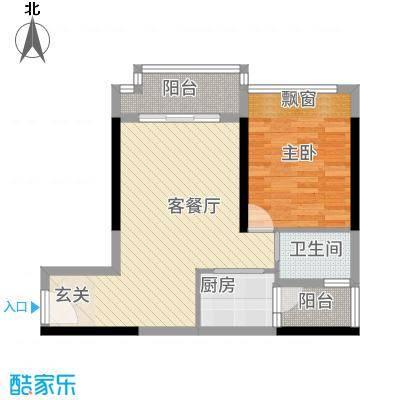 港城星座62.38㎡二号楼标准层02户型1室2厅1卫1厨