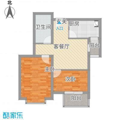 中悦水晶城1-A户型2室1厅1卫1厨