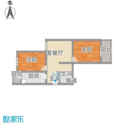 中悦水晶城2-C户型2室1厅1卫1厨