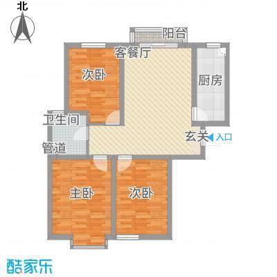 中悦水晶城1-B户型3室1厅1卫1厨