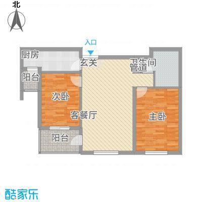 中悦水晶城3-A户型2室1厅1卫1厨
