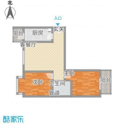 中悦水晶城2-B户型2室2厅1卫1厨